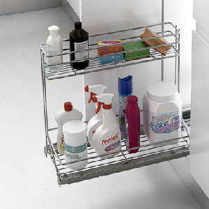 Cestos y bastidor para productos de limpieza