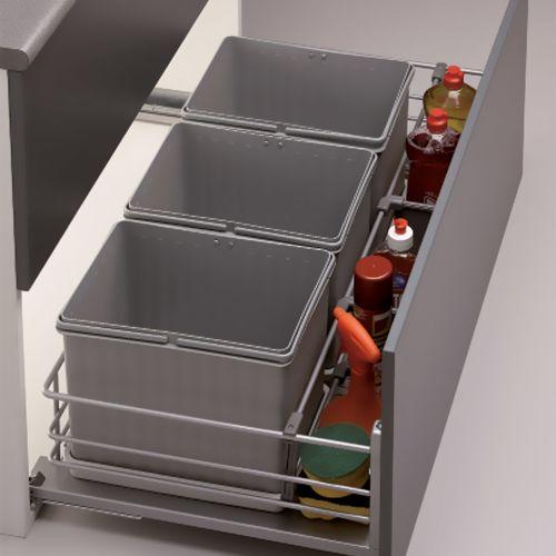 Kit Menage & Confort de cubos de basura ecológicos con tapas de apertura automática, base de alambre y separadores para artículos de limpieza