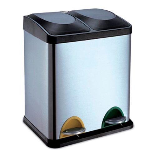 JERKO - Cubo de basura para la cocina con pedal de 2 y 3 compartimentos