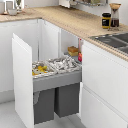 Cubo Basura ecológico de 2 compartimentos y apertura de extracción total