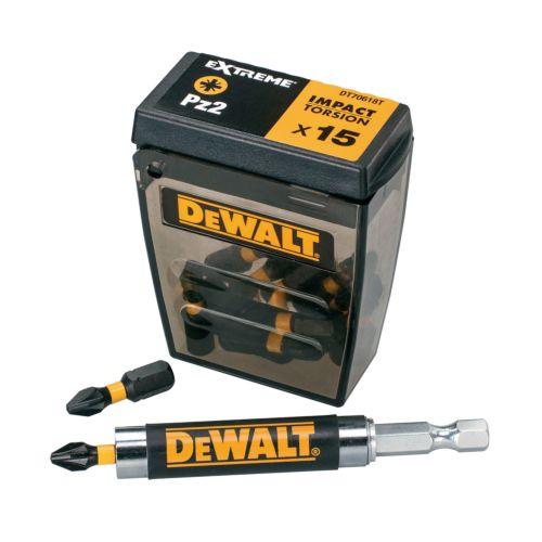 """Estuche de 16 piezas """"impact torsión"""" para atornillar con adaptador DEWALT DT70522T"""