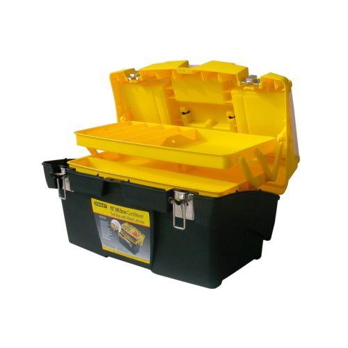 STANLEY - Caja de herramientas con 2 organizadores extraíbles y cierres metálicos