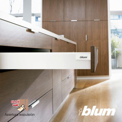 Kit para cajón BLUM Tandembox Antaro con apertura por expulsión TIP-ON y cierre decelerante BLUMOTION - Perfil M=83,6 mm. 30/65Kg.