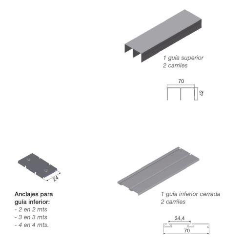 Kit guías superior e inferior de 2 carriles para perfiles ATLÁNTICO