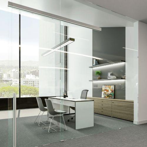 UNIKGLASS + AIR - Sistema de 1 hoja móvil de cristal en paredes de cristal hasta 100 Kg.