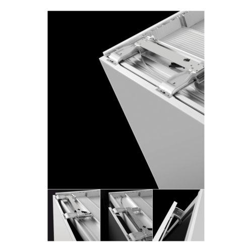 SLIDER S20 - Sistema corredera ocultas MUEBLE BAJO para armarios de 2 puertas hasta 20 kg.