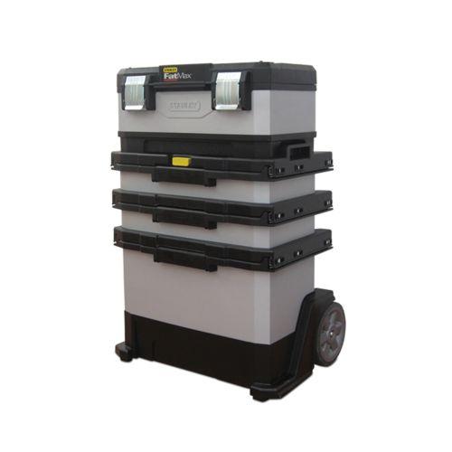 STANLEY - Taller móvil metálico de gran capacidad con bandeja extraíble, 3 cajones, ruedas y asa de transporte