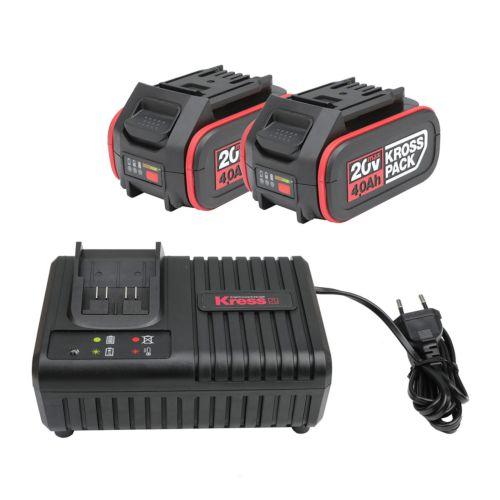 Kress KAD21 - Cargador rápido 20V + 2 Baterías 4,0Ah