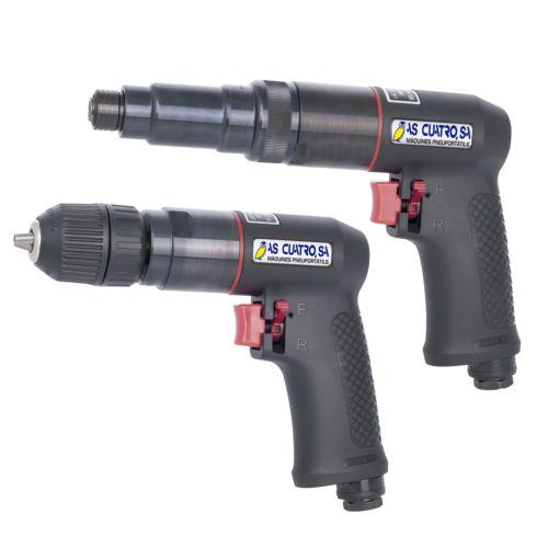 Conjunto Neumático de taladro reversible + atornillador con embrague
