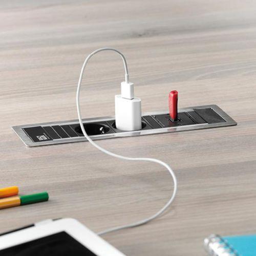 POWER FRAME - Módulo de enchufes y cargador USB encastrables con aro