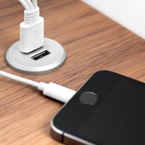 KONEM - Conector embutido con 2 tomas USB