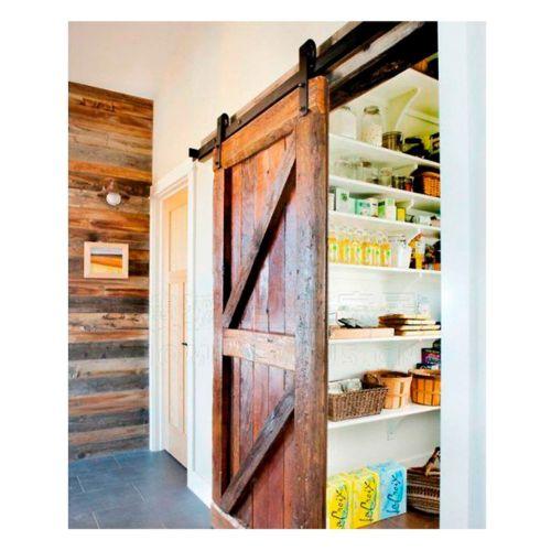 BRAULIO - KIT accesorios puertas de madera (Puerta granero) para hojas simples y dobles hasta 120 Kg