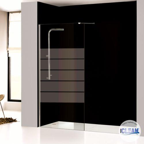 Mampara de baño fija cristal decorado con totalCLEAN«