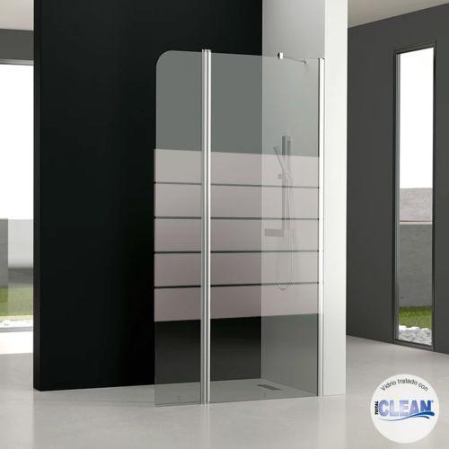 Mampara de baño GL195 Decorado totalCLEAN« (1 fijo frontal y 1 puerta abatible 180º)