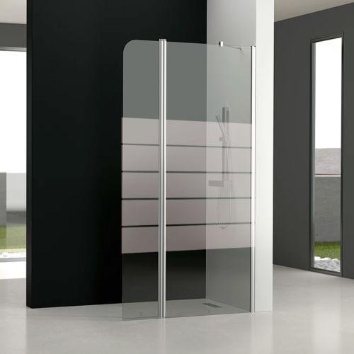 Mampara de baño GL195 Decorado (1 fijo frontal y 1 puerta abatible 180º)