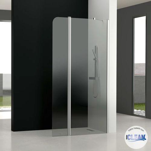 Mampara de baño GL195 Transparente totalCLEAN« (1 fijo frontal y 1 puerta abatible 180º)