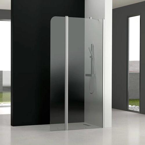 Mampara de baño GL195 Transparente (1 fijo frontal y 1 puerta abatible 180º)
