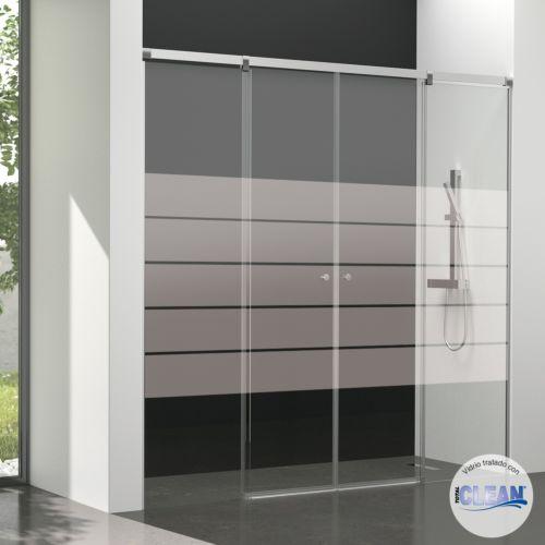 Mampara de baño Kala 4C con cristal decorado y con totalCLEAN« (2 puertas correderas y 2 fijos)