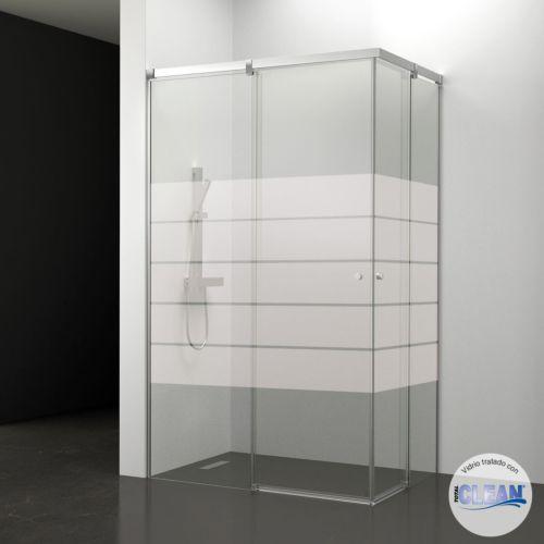 Mampara de baño Kala Angular Decorado totalCLEAN« (2 puertas correderas y 2 fijos)