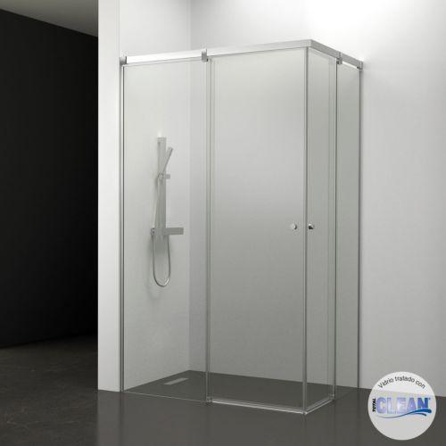 Mampara de baño Kala Angular Transparente totalCLEAN« (2 puertas correderas y 2 fijos)