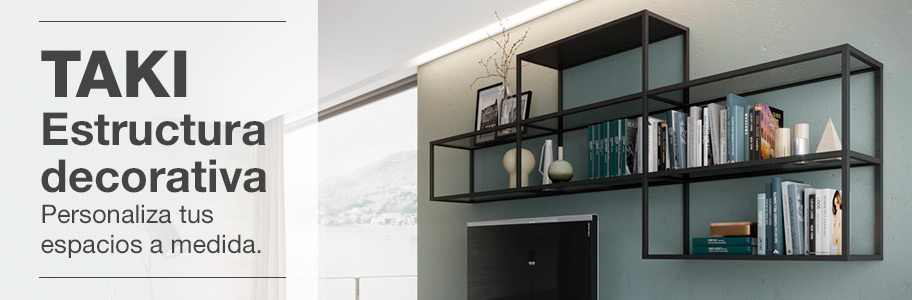 Estructura modular para estantes de madera o vidrio