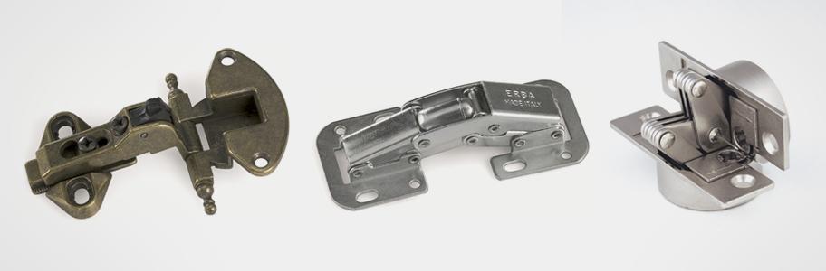 Bisagras varias para marco estrecho, artísticas o sin cazoleta
