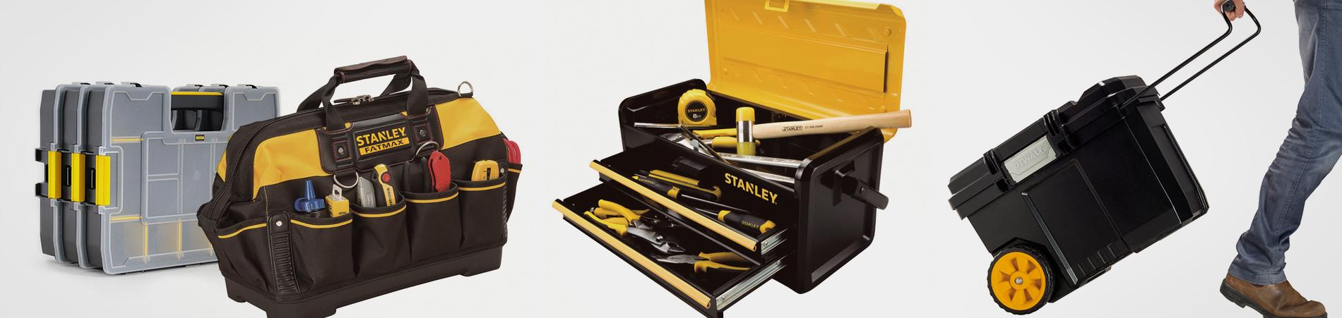 Cajas de herramientas, carretillas y escaleras