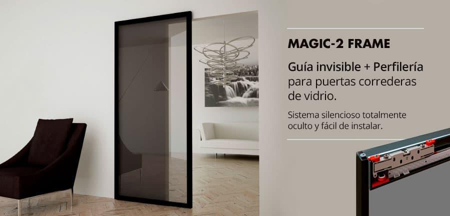 guía invisible y marco de aluminio para puertas correderas de vidrio