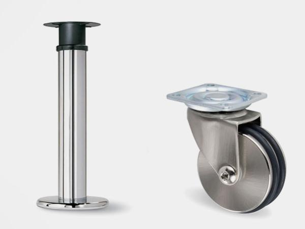Patas y ruedas para muebles o mesas.